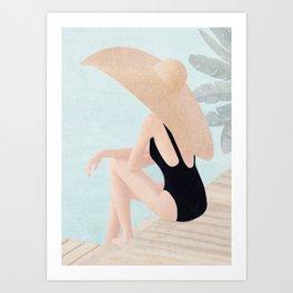 On the edge of the pool Art Print