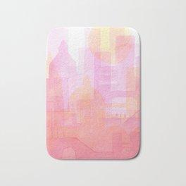 Pink and golden city watercolor Bath Mat