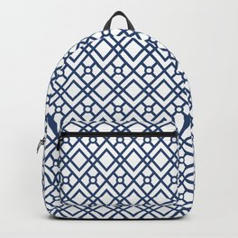 Modern Geometric Diamonds and Circles Pattern Navy Blue and White Backpack