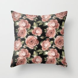 Classic Pink Roses On Black Throw Pillow