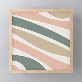 Colorful Stripes, Green, Blush Pink, Beige, Geometric Art Framed Mini Art Print