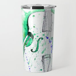Water Color Violin (Teal) Travel Mug