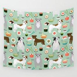 Pitbull sushi dog breed pet pattern pibble dog mom Wall Tapestry