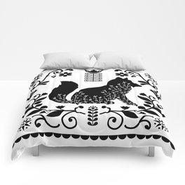 Woodland Folk Black And White Fox Tile Comforters