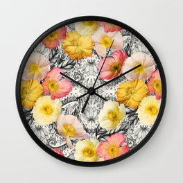 Collage of Poppies and Pattern Wall Clock