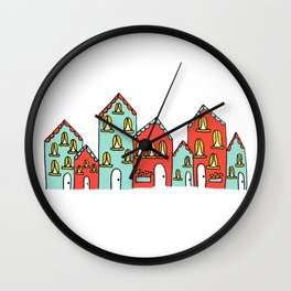 Colorful Little Village of Houses Wall Clock
