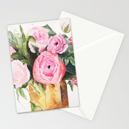Heather's Arrangement Watercolor Painting Stationery Cards