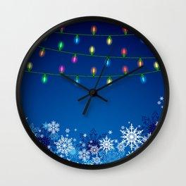 Christmas lights and snowflakes Wall Clock