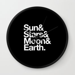 Sun, Stars, Moon, Earth Wall Clock