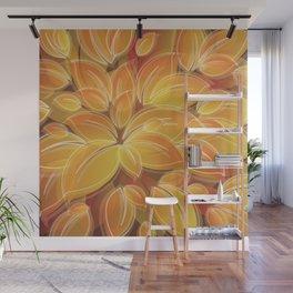 Warm Golden Autumn Flowers Wall Mural