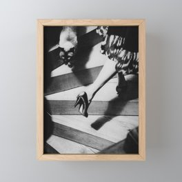 Friends on the Stairs, Siamese cat and woman passing in the night black and white photograph Framed Mini Art Print