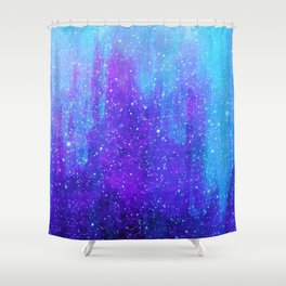 Space Ice Starfield Blue and Purple Shower Curtain