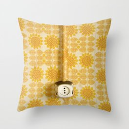 Vintage Sunflowers Pattern of GDR with Socket  Throw Pillow