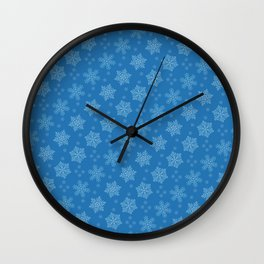 Dancing Snowflakes Blue Background Wall Clock
