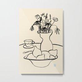 LEMONS AND FLOWERS Metal Print