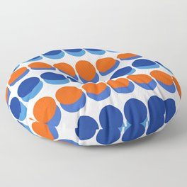Vibrant Blue and Orange Dots Floor Pillow