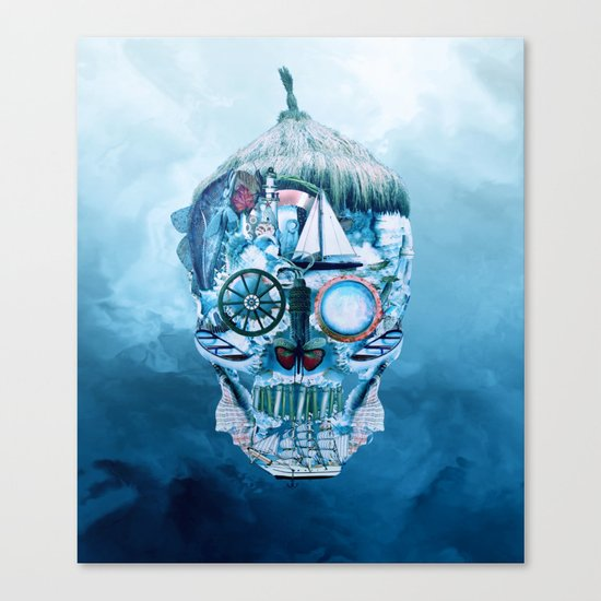Skull Ocean Blue Canvas Print