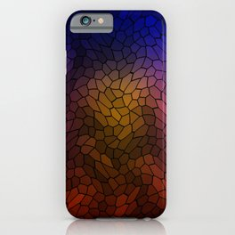 Volumetric texture of pieces of blue glass with a gloomy mysterious mosaic. iPhone Case