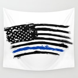 Thin blue line US flag. Flag with Police Blue Line - Distressed american flag. Wall Tapestry