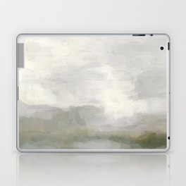 Modern Abstract Painting, Light Teal, Sage Green, Gray Cloudy Weather Digital Prints Wall Art, Ocean Laptop & iPad Skin