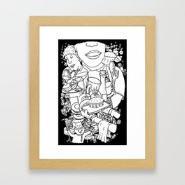 Mind Wandering in the Cafe Framed Art Print