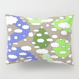 Plane view of the earth with little clouds of caricatures Pillow Sham