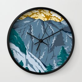 Kings Canyon National Park in Sierra Nevada Fresno and Tulare Counties California United States WPA Poster Art  Wall Clock