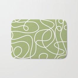 Doodle Line Art | White Lines on Spring Green Bath Mat