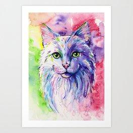 Not so white cat Art Print