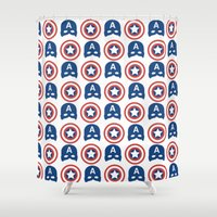steve rogers Shower Curtains featuring Steve Rogers by Aya Ghoneim