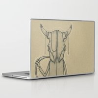 animal skull Laptop & iPad Skins featuring Bull Skull Guy Spirit Animal by Drawn by Lex
