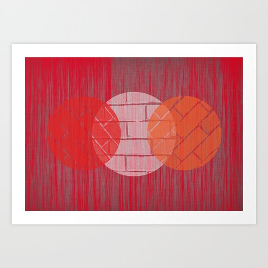THREE BRICKS ON SPLINTERED WOOD  Art Print