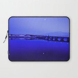 France landscape, Amboise, Loire valley, dusk, reflection, river, blue Laptop Sleeve