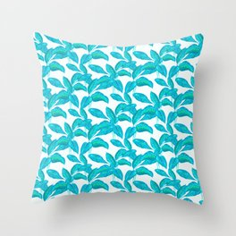 spring mint rubber leaves pattern Throw Pillow