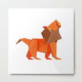 Origami Lion Metal Print