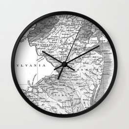 Vintage Map of New Jersey (1827) BW Wall Clock