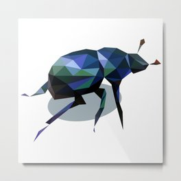 Low Poly Beetle Metal Print