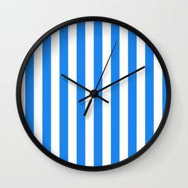 Narrow Vertical Stripes - White and Dodger Blue Wall Clock