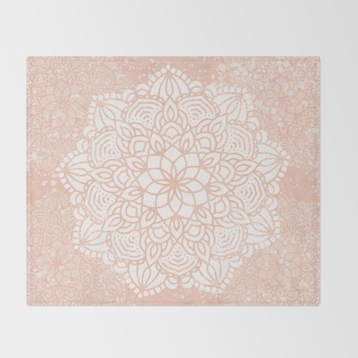 Seashell Mandala Coral Pink and White by Nature Magick Throw Blanket