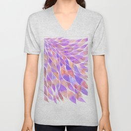 Pink and purple feathers palette Unisex V-Neck