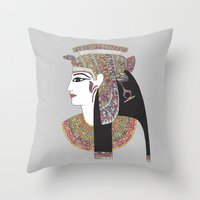 egyptian Throw Pillows featuring EGYPTIAN GODDESS by Bianca Green