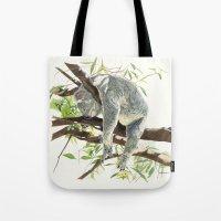 koala Tote Bags featuring Koala by Patrizia Donaera ILLUSTRATIONS