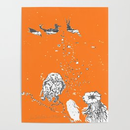 Two Tailed Duck and Jellyfish Orange Poster