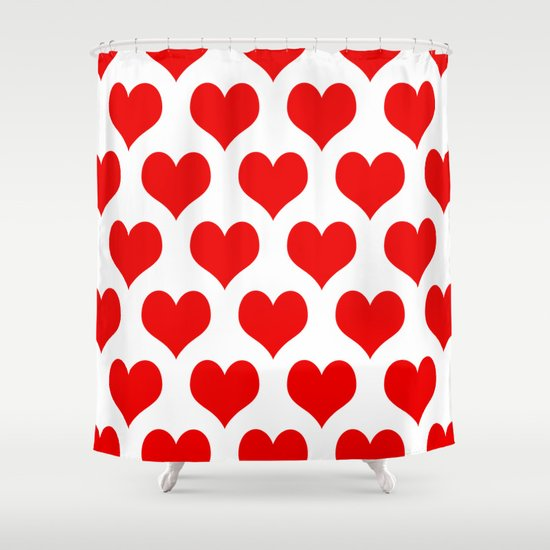 Holidaze Love Hearts Red Shower Curtain