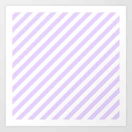 Chalky Pale Lilac Pastel and White Candy Cane Stripes Art Print