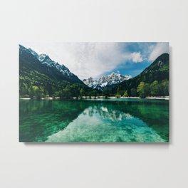 Reflective Lake Clear Mountains Metal Print