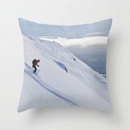 Skiers at Hatcher Pass (2) Throw Pillow