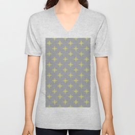 Ornamental Pattern with Grey and Lemon Yellow Colourway Unisex V-Neck