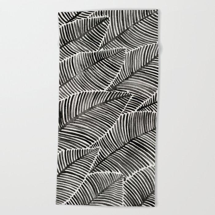 Tropical Palm Leaves – Black Palette Beach Towel
