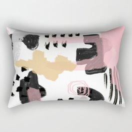 Mosaic Abstract Pink, Black Rectangular Pillow